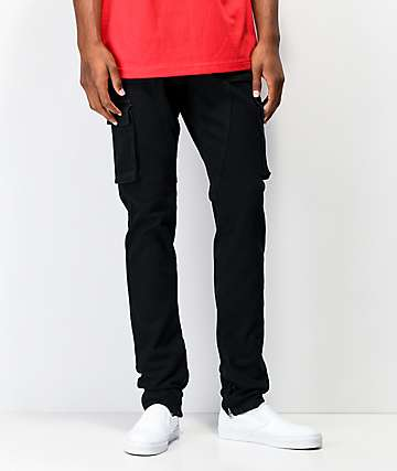 Crysp Pacific Black Cargo Denim Elastic Waist Jeans