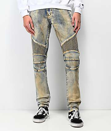 Crysp Skywalker Dirty Wash Denim Moto Jeans