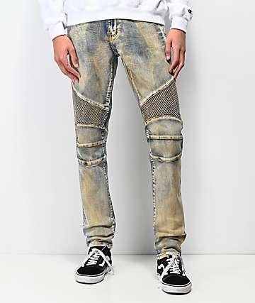 Crysp Skywalker Dirty Wash jeans estilo moto