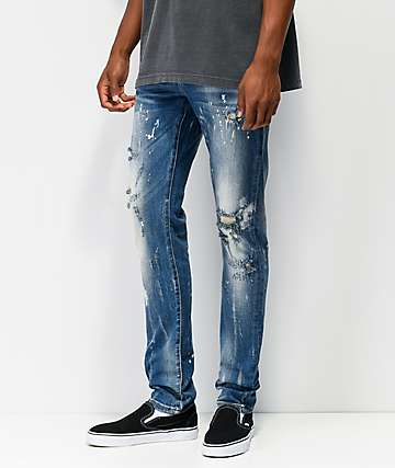 Crysp Vela Raw Hem Blue Denim Jeans