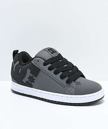 DC Court Graffik Grey, Black & White Skate Shoes