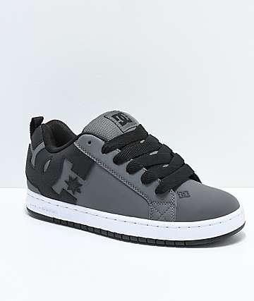 DC Court Graffik Grey, Black & White Skate Shoes