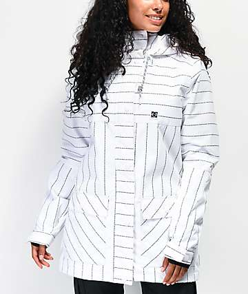 DC Cruiser White Pin Stripe 10K Snowboard Jacket