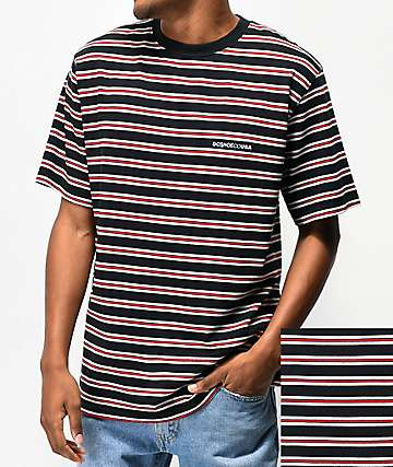 DC Jess Black, Red & White Striped Knit T-Shirt