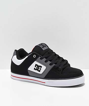 DC Pure White, Black & Red Skate Shoes