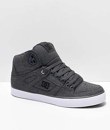 DC Spartan Hi TX SE Grey & White Canvas High Top Skate Shoes