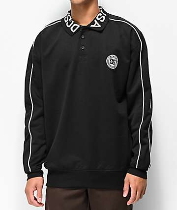 DC Springhill Black Long Sleeve Heavyweight Knit Shirt