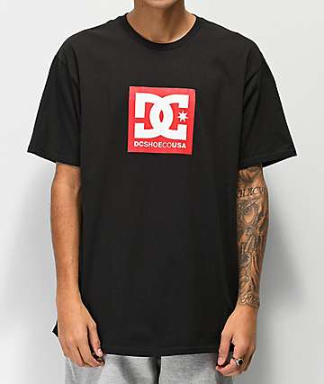DC Square Star camiseta negra y roja