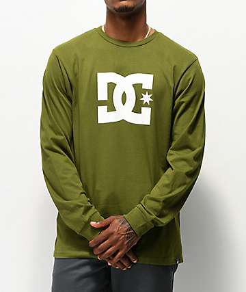 DC Star Olive & White Long Sleeve T-Shirt