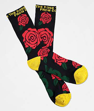 DGK Bloom Black, Red & Gold Crew Socks