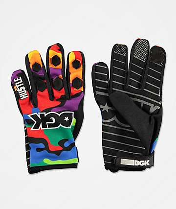 DGK Breeze Green, Purple & Red Camo Gloves