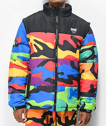 DGK Breeze Multi Camo Zip Off Puffer Jacket