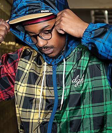 DGK Mismatch Plaid Multicolor Windbreaker Jacket