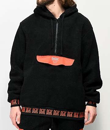 DGK Nocturnal Black & Red Sherpa Hoodie