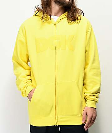 DGK Paid sudadera con capucha amarilla con cremallera