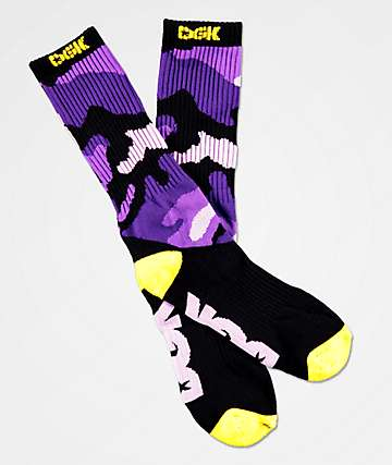 DGK Purple Camo & Yellow Crew Socks