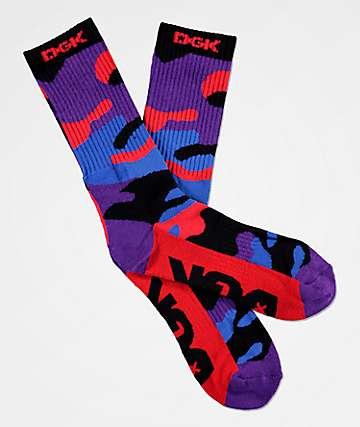 DGK Rise Red, Purple & Blue Camo Crew Socks