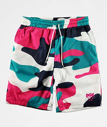 DGK South Beach Pink Camo Elastic Waist Shorts