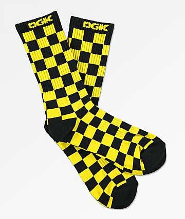 DGK Taxi Yellow & Black Checker Crew Socks
