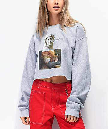 Daisy Street Seriously Statue Grey Crop Crew Neck Sweatshirt