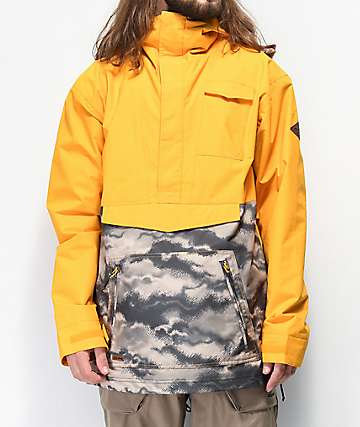 Dakine Clark 10K chaqueta anorak de snowboard dorada y camuflada