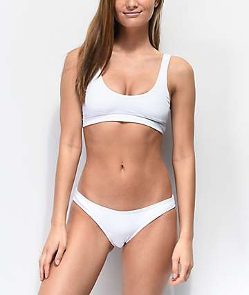 Damsel Blanco Flat Ribbed Cheeky Bikini Bottoms