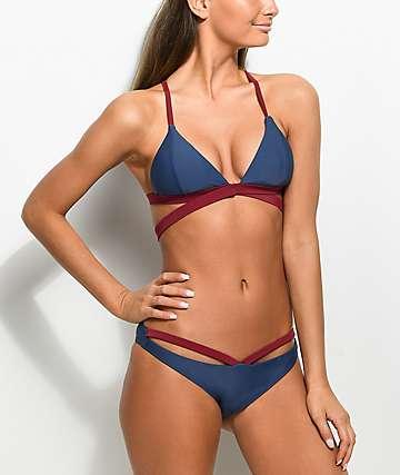 Damsel Blue & Red Strappy Cheeky Bikini Bottom