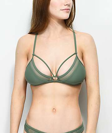 Damsel Green Mesh Triangle Bralette Bikini Top