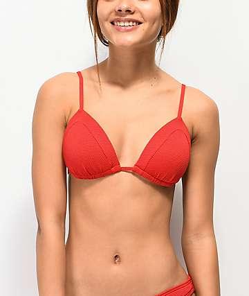 Damsel Lipstick top de bikini de punto rojo