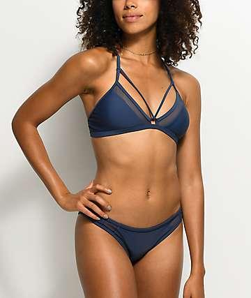 Damsel Mesh Side Blue Cheeky Bikini Bottom