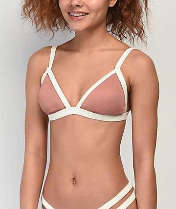 Damsel Putty File Ribbed Triangle Bikini Top