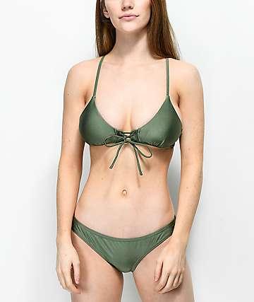 Damsel Shimmer Olive Cheeky Bikini Bottom