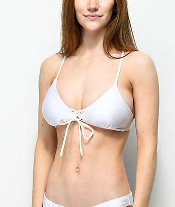 Damsel Shimmer White Lace Up Bralette Bikini Top