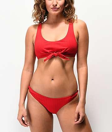 Damsel Super Rib Lipstick Red Cheeky Bikini Bottom