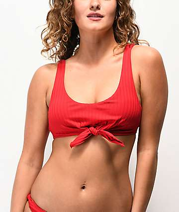 Damsel Super Rib Lipstick Red Knot Front Bikini Top