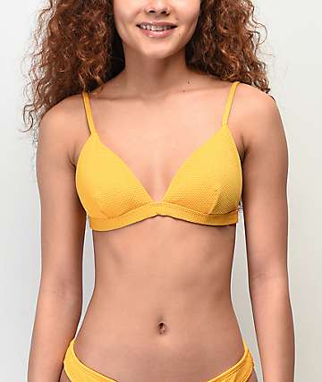 Damsel Tuscon Pique Yellow Triangle Bikini Top