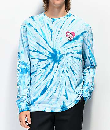 Danson Otter Love camiseta de manga larga de tie dye azul