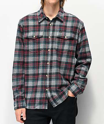 Dark Seas Awol Navy, Grey & Red Flannel Shirt