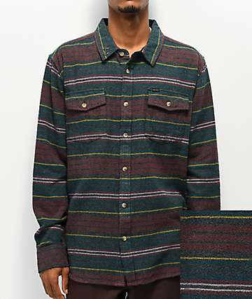 Dark Seas Bomborn Navy & Maroon Flannel Shirt