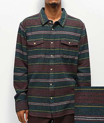 Dark Seas Bomborn Navy & Maroon Flannel Shirt