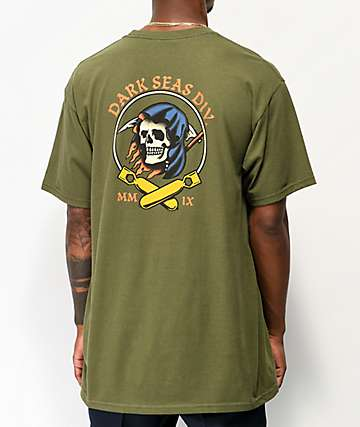 Dark Seas Justice Army Green T-Shirt