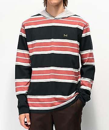 Dark Seas McKinley Black & Red Stripe Hooded Long Sleeve T-Shirt