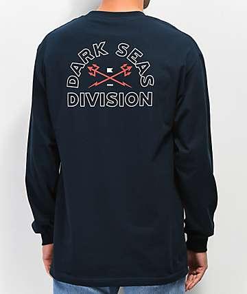 Dark Seas Outlines Navy Long Sleeve T-Shirt
