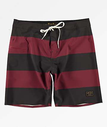 Dark Seas Overtide Black & Burgundy Board Shorts
