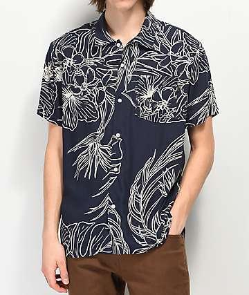 Dark Seas Rivermouth camisa de manga corta tejida azul marino