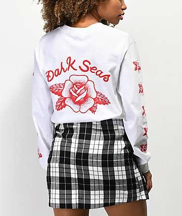 Dark Seas Rose White Long Sleeve T-Shirt