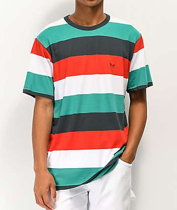 Dark Seas Yuma Red, Teal, White & Slate Grey Stripe T-Shirt