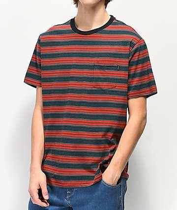 Dark Seas Zuma Striped Blue & Red Knit T-Shirt