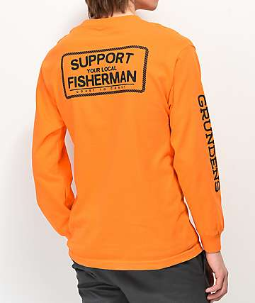 Dark Seas x Grundens Support Orange Long Sleeve T-Shirt