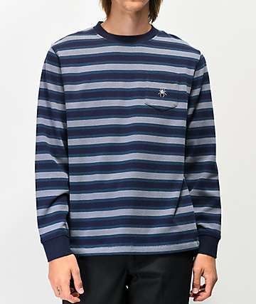 Deathworld Paris Blue Striped Long Sleeve Pocket T-Shirt